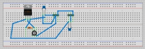 Breadboard view in Fritzing