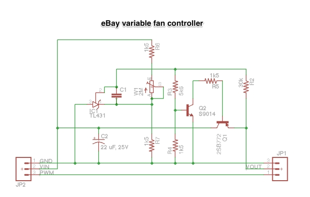 eBay variable fan controller - except that the circuit is a bit weird.. Need to re-check those PCB traces!